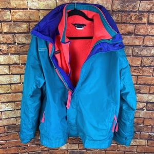 Vintage Columbia 2 layer logo fleece jacket coat